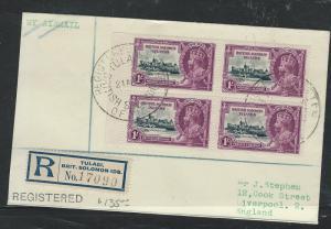 BRITISH SOLOMON ISLANDS (P0312B) KGV SILVER JUBILEE 1/-   BL 4 REG FROM TULAGI