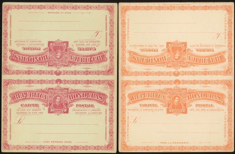 Honduras Postal Card Message & Reply Postal Stationery H&G #7, #8,#11,#12 (X4)