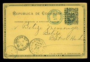 COLOMBIA 1892 2c stationery f/Venezuela to Brit.Honduras, PANAMA, BELIZE(25 Dec)