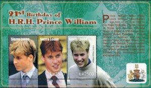 Sierra Leone MNH S/S Prince William's 2st Birthday