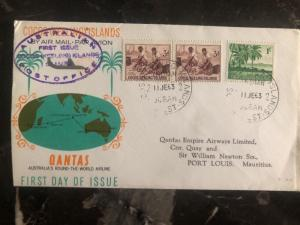 1963 Cocos Island Australia First Day Cover FDC Issue Of Stamps To Mauritius