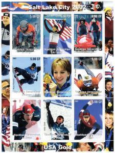 Congo DR  2002 Salt Lake City 2002 Olympics Games USA Gold Sheetlet (9) Perf.MNH
