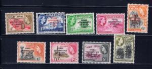 Ghana 5-13 Hinged 1957 overprint set