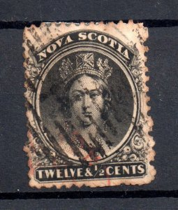 Nova Scotia QV 1860 12 1/2c used yellow paper SG17 WS19046