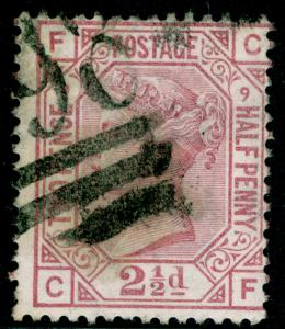 SG141, 2½d rosy mauve PLATE 9, USED. Cat £60. CF