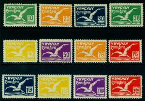 URUGUAY 1928  AIRMAIL - ALBATROSS - complete set  Sc# C14-C25 mint MH