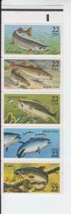 1986 USA Fish Booklet pane of 5 (Scott 2209a) MNH