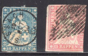 Switzerland #16 used SON CDS Cancel (has a thin) and 22 USED no faults