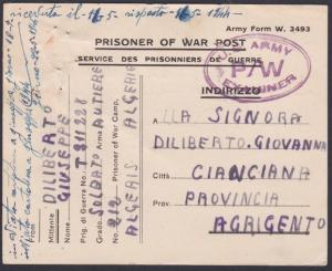 ALGERIA 1944  POW card from Italian Prisoner to Italy. US Army censor......53670