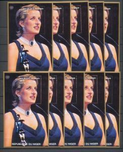 LADY DIANA NIGER 1997 Dress Jewelry MNH Minisheets 10x [D162]