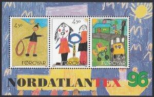 Faroe Islands 1996 MNH Sc #304 Sheet of 3 Childrens' drawings Nordatlantex 96