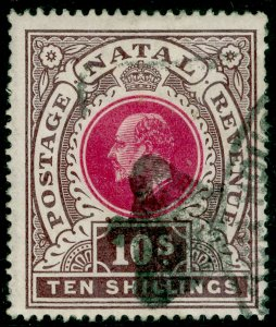 SOUTH AFRICA - Natal SG141, 10s deep rose & chocolate, USED. Cat £50.
