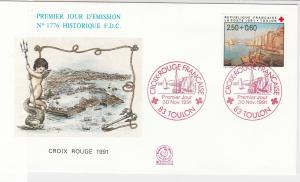 France 1991 Celeb Red Cross Toulon Slogan Cancels + Stamp FDC Cover Ref 31654