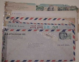 PERU  10 CENSORED LONG COVERS 1941-1944 MOSTLY TO USA