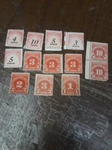 USA Mint No Gum Postage Due Lot