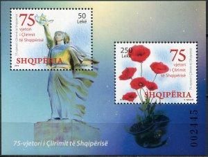 Albania 2020. 75th Anniversary of Liberation of Albania (MNH OG) Souvenir Sheet