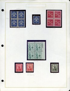 Lot of 16 U.S. MNH Back of Book Stamps PS4, PS8, PS12, WS7, WS10 #141537 X