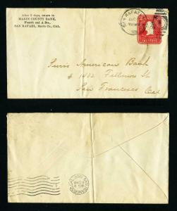 Cover from Marin County Bank San Rafael, CA  to San Fransisco, CA dated 8-6-1906