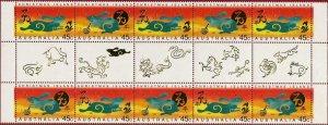 Christmas Island 416-7 Gutter Pair Strip MNH Year of the Rabbit