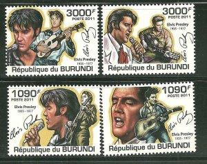 Burundi MNH 961-4 Elvis Presley 2011 SCV 12.50