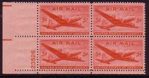 USA Airmail Douglas DC-4 Plate Block 1946 MNH SG#a941 MI#549 CVEur1.200.00