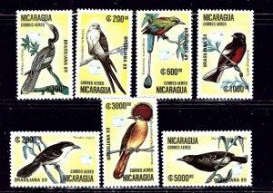 Nicaragua C1172-78 MNH 1989 Birds    (ap2041)