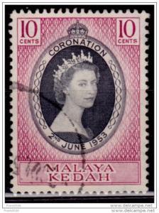 Malaya Kedah, 1953, Coronation, Scott# 82, used