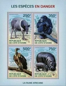 Endangered Species Stamp Monkey Hippo Wild Animal S/S MNH #1619-1622