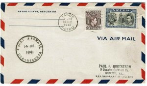 Nigeria 1941 Lagos machine cancel on first flight cover to the U.S., SG 58