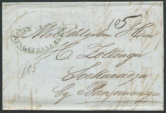 NETHERLANDS INDIES 1856 cover SAMARANG / ONGEFRANKEERD in oval.............39879