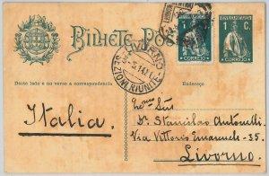 50867 -  PORTUGAL -  POSTAL HISTORY -  STATIONERY CARD to Livorno ITALY 1914