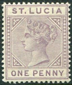 ST LUCIA-1886-87 1d Dull Mauve Die I Sg 39 LIGHTLY MOUNTED MINT V49020
