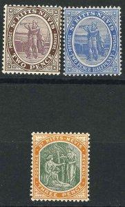 Saint Kitts-Nevis 3, 17-18 SG 3, 17-18 MNH VF 1903-06 SCV $10.00*