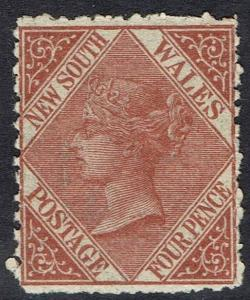 NEW SOUTH WALES 1867 QV 4D WMK 4 PERF 13