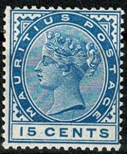 MAURITIUS QV 1883-94 15c BLUE UNUSED (MH) SG108 Wmk.CROWN CA VGC