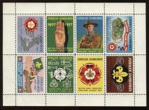 GB 1957 Boy Scout Jubilee Jamboree sheet of 8 Cinderellas with original folder