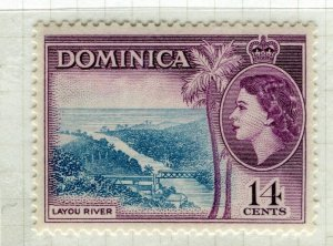 DOMINICA; 1954 early QEII issue fine Mint hinged 14c. value