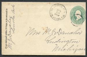 US LONOKE, AR 8/19/1882 3C POSTAL STATIONERY COVER TO LUDNIGTON, MI AS SHOWN