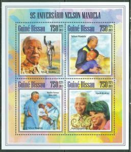 GUINEA BISSAU NELSON MANDELA 95TH BIRTH ANNIVERSARY SHEET OF 4