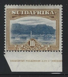 South Africa 1927 10/ Table Mountain Afrikaans single Sc# 32a mint