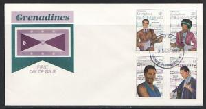 Grenada, Gr., Scott cat. 1115-1118. 20th Century Musicians. First day cover.
