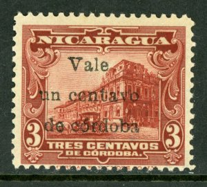 Nicaragua 1918 Cathedral Provisional 1/3¢ Scott 372 Mint M476