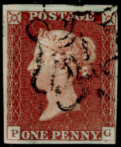 SG10, 1d dp red-brown PLATE 27, FINE USED. Cat £180. blk MX  NUMBER 1. PG