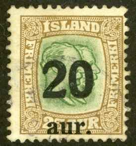 Iceland Sc# 133 MH 1921-1925 20a Overprints
