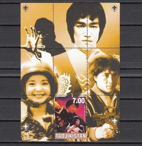 Tadjikistan, 2000 Russian Local. Bruce Lee Cinema Star. Scout logo.