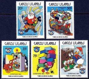 CAICOS Is -1984 - DISNEY - CHRISTMAS - DONALD - MICKEY - SANTA - MNH SET OF 5!