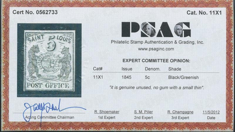 #11X1 VF UNUSED GEM WITH PSE & PSAG CERTS CV $50,000.00 WL1975