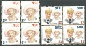 NIUE 2000 Queen Mother & Prince William set blocks of 4 MNH................62418