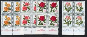 Switzerland Sc B410-13 1972 Roses Pro Juventute stamp set mint NH Blocks of 4