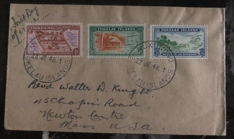 1948 Tokelau Island First Day Cover FDC To Newton MA Usa
